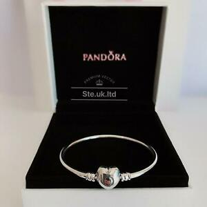 New Authentic PANDORA Sterling Silver Moments Heart Bangle RRP£55 #596268