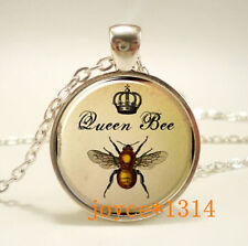 Vintage queen bee Cabochon Tibetan silver Glass Chain Pendant Necklace #479
