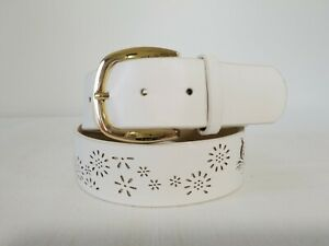 Inc International Concepts white floral perforated belt size S E11