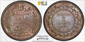TUNISIA  , SILVER 2 FRANCS 1916 UNC -  PCGS MS 64 ( ST11 ) HIGH GRADE , RARE