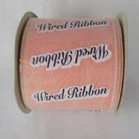 "Peach Ribbon Wired 3 15/16"" x 15 yds 100% Polyester Lion Apparel Craft Floral"