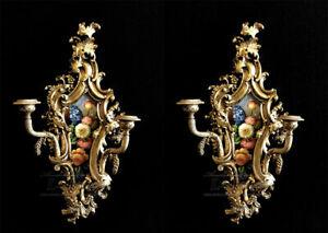 Coppia di applique candelabro da parete dipinto candeliere da parete con fiori s