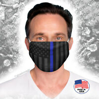 American Flag black vs Police Blue Line face mask-Reusable,washable-Free shippng