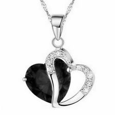 Double Heart Crystal Silver Plated Chain Pendant Silver Green Red Blue Necklaces