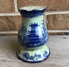 GORGEOUS Antique VICTORIA WARE Stoneware FLOW BLUE Hat Pin Holder Asian Design