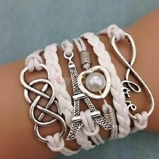 Infinity LOVE Heart Eiffel Tower Friendship Leather Charm Bracelet Useful #