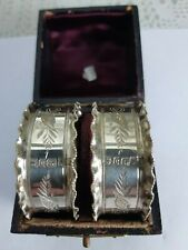 ANTIQUE  BOXED PAIR STERLING SILVER NAPKIN RINGS BIRMINGHAM 1906