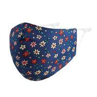 Maske Mund-Nasen-Maske Schutzmaske Blumen Blümchen blau 100% Baumwolle