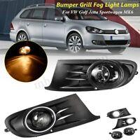 Front Bumper Fog Light Lamps +Grilles For VW Golf Jetta Sportwagen MK6 2010-2014