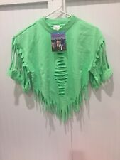 NWT Vtg Lime Green 80s Tear Wear Brand Tee Shirt OSFA