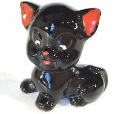 VINTAGE REDWARE POTTERY CAT FIGURINE LARGE HEAD BLACK RED EARS NOSE MOUTH