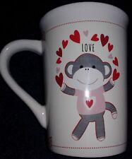 SOCK MONKEY coffee MUG large 12oz cup love hearts Christmas gifts for men women