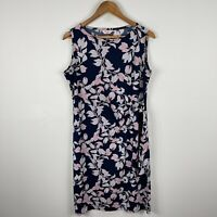 Millers Womens Dress 12 Blue Floral Sleeveless Round Neck Tie