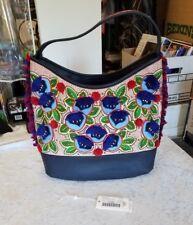 NWT NEW TORY BURCH Embroidered Summer Pom Pom Floral Hobo Leather Shoulder Bag!