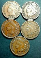1905, 1906, 1907, 1908 & 1909 INDIAN HEAD CENTS