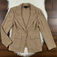 St. John Women's Size 12 Tan One Button Knit Blazer Jacket