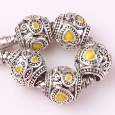 5pcs Tibetan silver love lampwork spacer beads fit Charm European Bracelet #A146