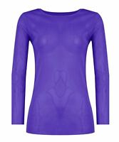 Women's Ladies Sheer Mesh Fish Net Long Sleeve Scoop Neck T-Shirt Top Size 8-22