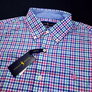 Polo Ralph Lauren Cotton Stretch Long Sleeve Mens Gingham Check Pony Shirt $125