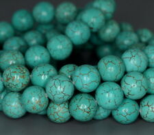 """10MM TURQUOISE HOWLITE GEMSTONE GRADE A ROUND LOOSE BEADS 7.5"""""""