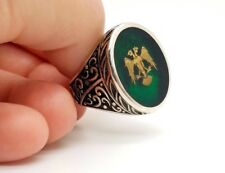 925 STERLING SILVER HANDMADE GREEN TWO HEADED EAGLE STONE MEN'S RING US 10 USA