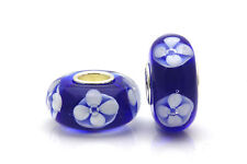 Blue MURANO GLASS bead White Flower Sterling Silver for Fashion Charm Bracelet