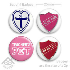 "St Trinians Fancy Dress Badge PERFECT Sexy -1"" Badge x4 Badges NEW"