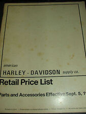 Harley-Davidson retail price list parts and accessories 1972, dealership book