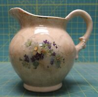 Antique Flower Bouquet Daisy & Violet Crazed Glaze Porcelain Water Pitcher Jug