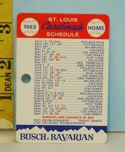 1963 St. Louis Cardinals Baseball Schedule Busch Bavarian Carton Tag