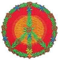 Peace-Symbol Welt-Frieden Yoga Goa Hanf-Blatt Aufnäher Patch Bügelbild Aufbügler