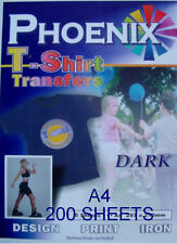 IRON ON T TEE Shirt DARK Transfer Paper A4 200 Sheets