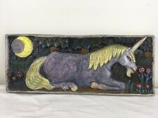 Vintage 24x10 Folk Art Hand Carved Unicorn Forest & Moon Wood Wall Plaque OOAK