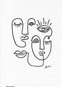 original drawing A4 75BJ art samovar ink modern female portrait Signed 2020