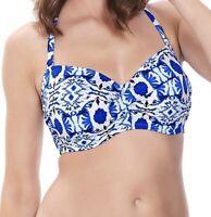 Fantasie Aveiro Bikini Top Size 32D 34E Blue White Padded Strapless Bandeau 6241