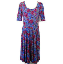 LuLaRoe Nicole Dress Roses Floral Purple Red Pink Green USA New NWT Small S