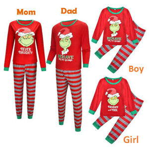 Christmas Family Mom Dad Kids Pyjamas PJS Xmas The Grinch Sleepwear Nightwear UK