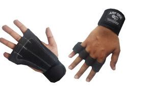 ARF DEN Weight Lifting Grip LeatherPadding Glove Gym Wrist Support STRAP WORKOUT