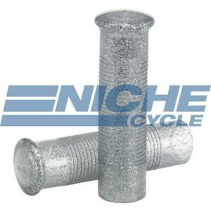 Silver 120mm Metal Flake Chopper Bobber Motorcycle Grips 7/8""