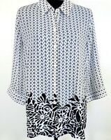 Chicos 2 Tunic Top Blouse Button Down Black Floral White 3/4 Sleeve Long