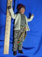 """Rare VTG Doll Cloth Leather Shoes Composition Head 12"""" Grandma Old Woman Lady"""