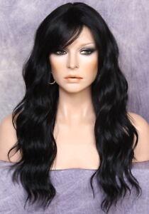 Long Beach Wavy Jet Black Human hair Blend Full Wig Heat OK Bangs Layered  FBW 1
