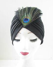 Black Peacock Feather Turban Vintage 1920s Great Gatsby Headpiece Cloche Hat U14