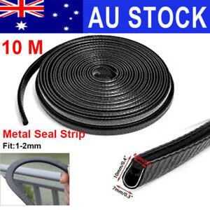 10M U-shaped Rubber Seal Trim Molding Strip Black Metal Car Door Edge Protector