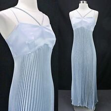 Vintage 90s Silvery Periwinkle Blue Pleated Empire Waist Strappy Prom Dress XS S