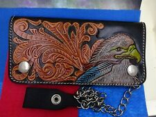 Boys Western Leather Wallet Sculpted American Eagle With Chain