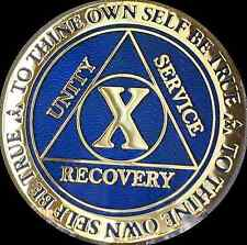 10 Year AA Medallion Blue Gold Plated Alcoholics Anonymous Sobriety Chip Coin