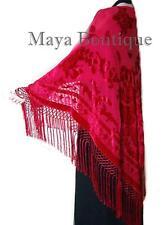 Scarlet Red Silk Burnout Velvet Piano Shawl Wrap Fringed Scarf Maya Matazaro