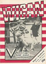 Wigan V Bradford Nord 10 ott 1982 Wigan campionato di rugby programma