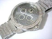 Silver Tone Metal Big Case Techno King Men's Watch w Crystals Item 2908